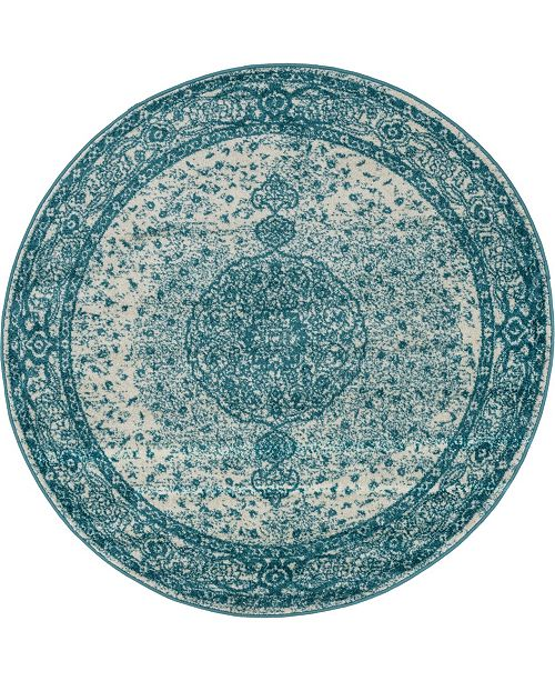 Bridgeport Home Mobley Mob1 Turquoise 5' x 5' Round Area Rug