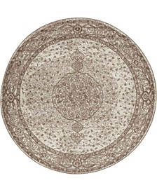 Mobley Mob1 Light Brown 5' x 5' Round Area Rug