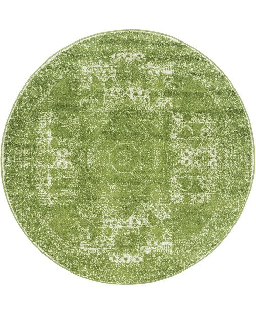 Bridgeport Home Mobley Mob2 Green 5' x 5' Round Area Rug