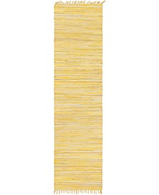 "Jari Striped Jar1 Yellow 2' 7"" x 9' 10"" Runner Area Rug"
