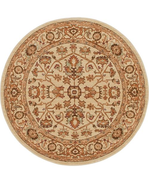 "Bridgeport Home Thule Thu1 Beige 4' 5"" x 4' 5"" Round Area Rug"