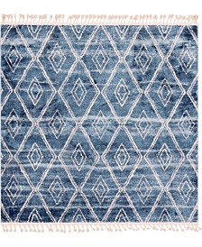 "Bridgeport Home Levia Lev2 Dark Blue 7' 7"" x 7' 7"" Square Area Rug"