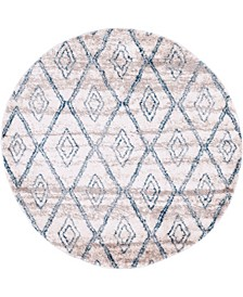 "Levia Lev2 Beige/Blue 4' 7"" x 4' 7"" Round Area Rug"