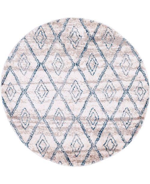"Bridgeport Home Levia Lev2 Beige/Blue 4' 7"" x 4' 7"" Round Area Rug"