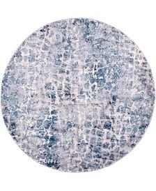 """Bridgeport Home Levia Lev3 Blue 4' 7"""" x 4' 7"""" Round Area Rug"""