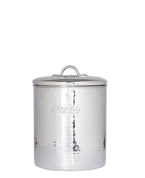 Old Dutch International Stainless Steel Hammered Cookie Jar with Fresh Seal Cover, 4-Quart
