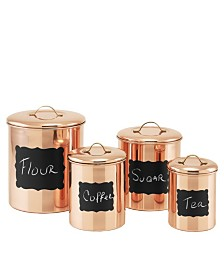 Old Dutch International Copper Chalkboard Canister Set with Fresh Seal Covers, Set of 4