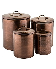 Old Dutch International Hammered Antique Copper Canister Set with Fresh Seal Covers, 4 Piece Set