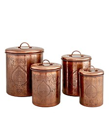 International Tangier Antique Copper Etched Canisters, Set of 4