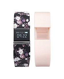 iFitness Activity Tracker with Black Floral Strap with Bonus Blush Strap