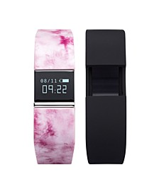 iFitness Activity Tracker with Printed Blush Strap with Bonus Black Strap