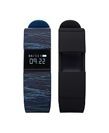 iFitness Activity Tracker with Blue Printed Strap and Bonus Black Strap