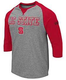 Men's North Carolina State Wolfpack Team Patch Three-Quarter Sleeve Raglan T-Shirt