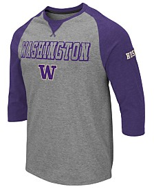 Colosseum Men's Washington Huskies Team Patch Three-Quarter Sleeve Raglan T-Shirt