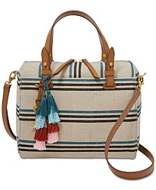 Fossil Rachel Natural Striped Satchel