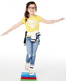 Little Girls Butterfly Heart T-Shirt & Distressed Patches Jeans, Created for Macy's