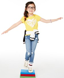 Epic Threads Little Girls Butterfly Heart T-Shirt & Distressed Patches Jeans, Created for Macy's