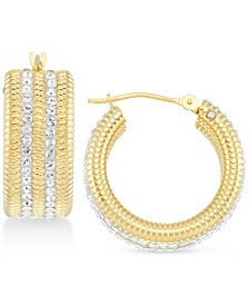 Swarovski Crystal & Diamond Accent Hoop Earrings in 14k Gold Over Resin, Created for Macy's