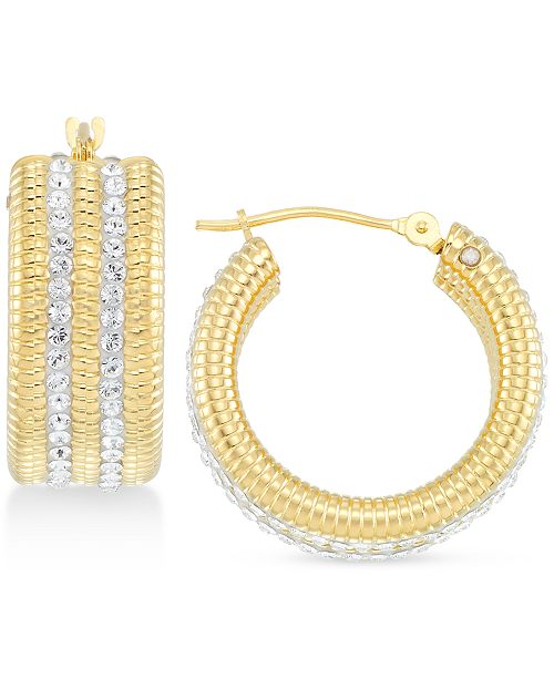 c205a666008cb Swarovski Crystal & Diamond Accent Hoop Earrings in 14k Gold Over Resin,  Created for Macy's