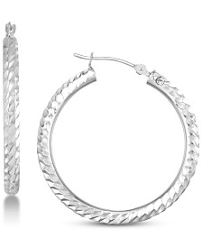 Signature Gold Diamond Accent Textured Round Hoop Earrings in 14k White Gold Over Resin, Created for Macy's