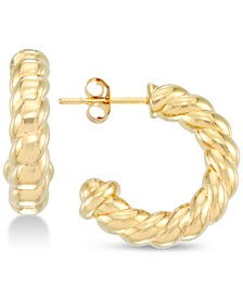 Twisted Small Hoop Earrings in 14k Gold over Resin, Created for Macy's