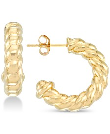 Signature Gold™ Twisted Small Hoop Earrings in 14k Gold over Resin, Created for Macy's
