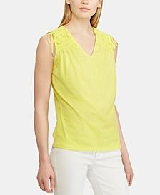 Tassel-Trim Sleeveless Cotton Top