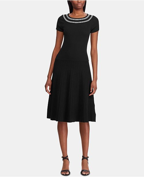 Lauren Ralph Lauren Stripe-Trim Ribbed Fit-and-Flare Dress