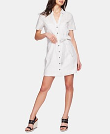1.STATE Striped Belted Shirtdress