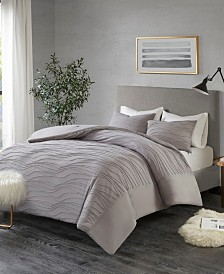 Madison Park Dion 3-Pc. Cotton Blend Jersey Knit Pleated Bedding Sets