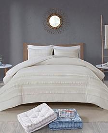 Amaya King/California King 3 Piece Cotton Seersucker Comforter Set