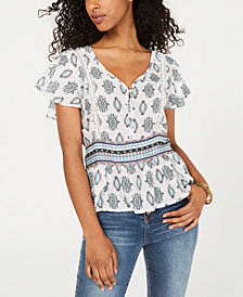 American Rag Juniors' Crochet-Trim Peplum Top, Created for Macy's