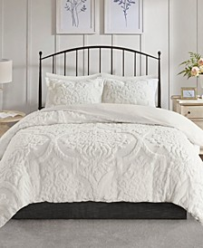 Viola King/California King 3 Piece Tufted Cotton Chenille Damask Duvet Cover Set