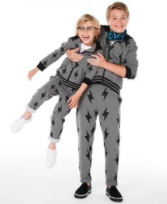 Big Boys Lightning Bolt-Print Full-Zip Fleece Hoodie, Created for Macy's