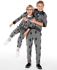 Brothers Lightning Bolt Full-Zip Hoodie & Fleece Sweatpants, Created for Macy's
