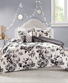 Dorsey Full/Queen 5 Piece Floral Print Duvet Cover Set