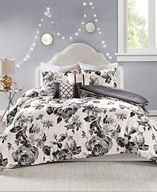Intelligent Design Dorsey Full/Queen 5 Piece Floral Print Duvet Cover Set