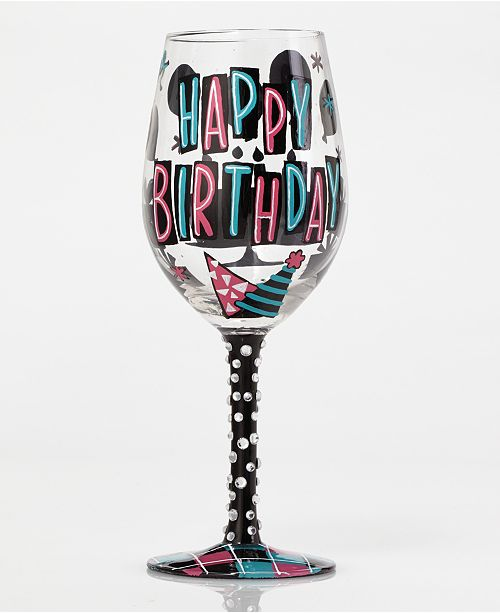 Enesco Lolita Happy Birthday Wine Glass