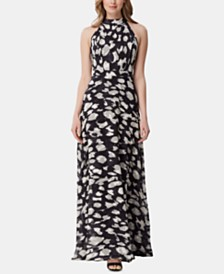 Tahari ASL High-Neck Printed Maxi Dress