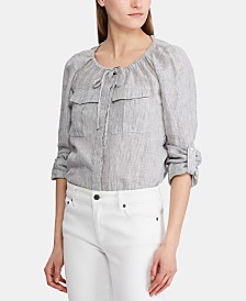 Lauren Ralph Lauren Tie-Neck Long-Sleeve Top