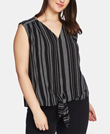 1.STATE Plus Size Striped Tie-Front Top