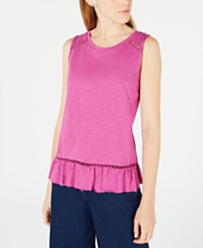 Maison Jules Ruffled Cross-Over Back Top, Created for Macy's
