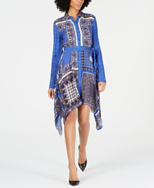 Elie Tahari Roxanne Printed Handkerchief-Hem Dress