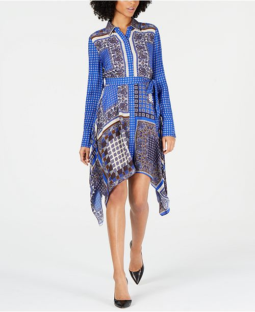 Elie Tahari Roxanne Printed Handkerchief-Hem Dress