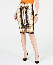 Zipper Printed Scuba Skirt, Created for Macy's