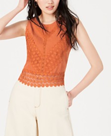 Self Esteem Juniors' Crochet Tie-Back Top
