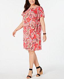 Robbie Bee Plus Size Printed Faux-Wrap Dress