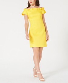Trina Trina Turk Ruffled Off-The-Shoulder Shift Dress
