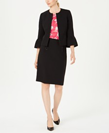 Nine West Bell-Sleeve Jacket, Printed Top & Sailor-Button Skirt