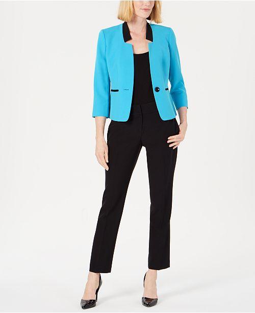 Le Suit Petite Shawl-Collar Pantsuit